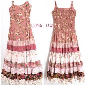 Nwot Luna Luz Boho Floral Patchwork Midi Sundress